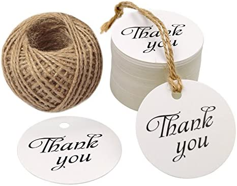 Thank You Tag Paper New arrival Gift Round Natu Feet 100 Tags Finally resale start with