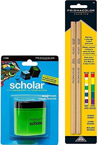 BUNDLE Prismacolor Scholar Colored Pencil Sharpener (1774266) + Prismacolor Blender Pencil Colorless, 2-pack (962)