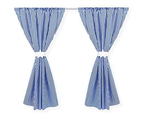 Amilian® Kinderzimmer Vorhänge 155 x 155 cm Set mit Schlaufen Baby Gardinen Vorhang Steifenmuster Dunkelblau