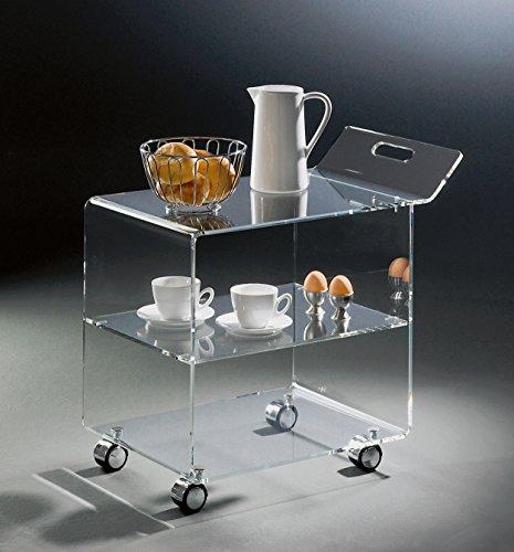 HOWE-Deko Hochwertiger Acryl-Glas Servierwagen/Teewagen mit 4 verchromten Rollen, klar, 63 x 38 cm, H 59 cm, Acryl-Glas-Stärke 8 mm