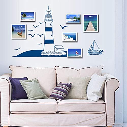 BeesClover Muursticker met Blauwe Zeilboot Zeemeeuw Patroon voor fotolijst Wandachtergrond Decoratie Creatieve Levensstijl