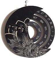 木製ムーンパーペチュアルカレンダー-調整可能なパーペチュアルカレンダークラフト-回転可能な円形DIY手彫りカレンダー-ホームオフィススクールのレトロな装飾壁掛けカレンダー (D)