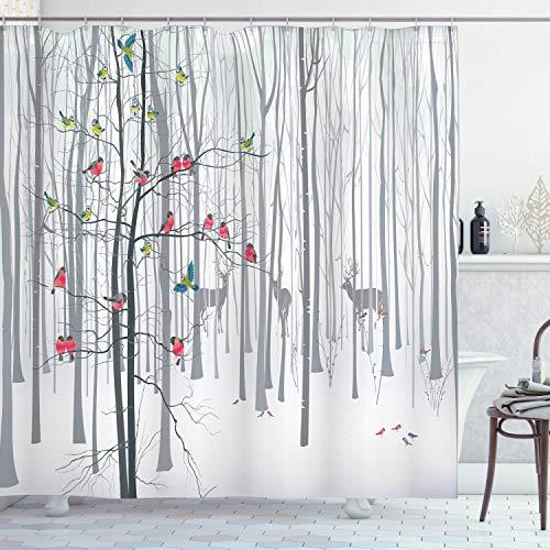ABAKUHAUS Natur Duschvorhang, Menge der Vögel auf Baum, Set inkl.12 Haken aus Stoff Wasserdicht Bakterie & Schimmel Abweichent, 175 x 180 cm, Multicolor