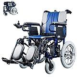 HAOT Rollstuhl, elektrischer Rollstuhl Klappbarer Elektrorollstuhl Dual Control System Leichter manueller/elektrischer Schalt-Doppelmotor für behinderte und ältere Hemiplegie Paraplegie