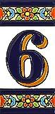 Números casa. Letreros con numeros y letras en azulejo de ceramica policromada, pintados a mano en técnica cuerda seca para placas con nombres, direcciones y señaléctica. Texto personalizable. Diseño FLORES MEDIANO 10,9 cm x 5,4 cm. (NUMERO SEIS '6')