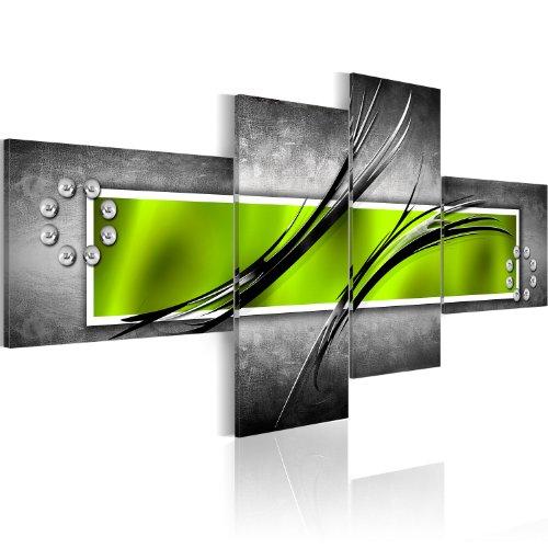 murando - Bilder Abstrakt 200x92 cm Vlies Leinwandbild 4 Teilig Kunstdruck modern Wandbilder XXL Wanddekoration Design Wand Bild - grün grau 051472
