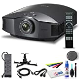 Sony VPLHW40ES 1080p 3D SXRD Home Theater/Gaming Projector ES Projector with Mount + Power Strip + HDMI Cable + Cleaning Set + Wire Ties and More - Bundle