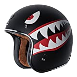TORC T50 Route 66 3/4 Helmet with 'Flying Tiger' Graphic (Flat Black,...