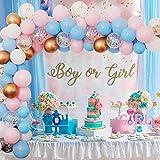 Genere rivela decorazioni, Palloncini rosa blu arco ghirlanda kit, palloncini bianco, palloncini oro metallici, palloncini coriandoli oro per ragazzo ragazza genere rivelare compleanno baby shower
