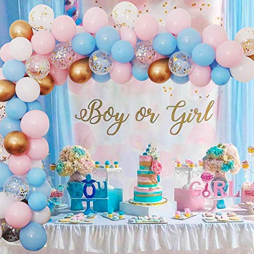 Gender Reveal Decorations, Light Blue Pink Balloons Arch Garland Kit, Light Blue Pink White Balloons, Metallic Gold Balloons, Gold Confetti Balloons For Boy Girl Gender Reveal Baby Shower Birthday