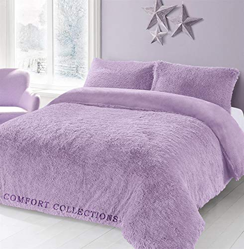 Comfort Collections Teddy Hug & Snug Cuddles Fleece Duvet Quilt Cover Bedding Set With Matching Pillowcase Warm and Cosy Lilac Bedding Set Double 200cm x 200cm Approximately.
