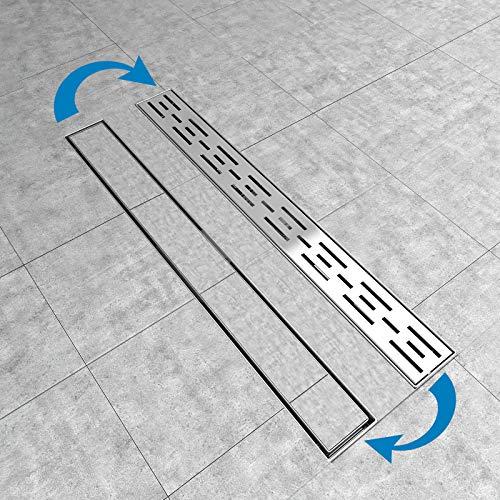 Aica Sanitär Doppelseitige Duschrinne 60cm Edelstahl mit Geruchsstop und Haarsieb, Duschablauf flach, Bodenablauf Komplettset für dusche, 2 in 1 befliesbar, 3-Reihen-Schlitze