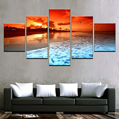 5 Panels Canvas Paintings Wall Art 5 Pieces Sunset Glow Beach Sea Waves Poster Hd Printed Seascape Pictures Home Decor