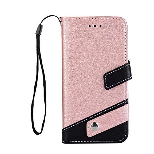 iPhone 6/6S Flip Wallet Lederen hoesje dechyi cover met Card Slots Portemonnee Kan ophangen hoofdtelefoon Voor sport & muziek en voor jongens en meisjes, Rosegoud, iPhone 6/6S