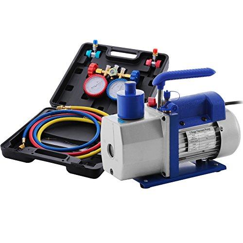 HODOY 4.8CFM 1 / 3HP Pompa a vuoto del refrigerante Kit HVAC Pompa a vuoto monostadio con 4 valvole A/C Gruppo manometro Set per R22 R134A R410A (valvola 4.8CFM 1 / 3HP)