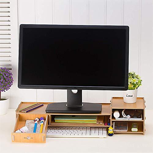 Soporte para monitor de madera, soporte para computadora de escritorio, pantalla LED, LCD, portátil, portátil, soporte de papelería, para computadora portátil (tamaño: 65 x 22 x 14,5 cm), color # 3