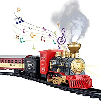 TEMI Train Sets w/ Steam Locomotive Engine Cargo Car and Tracks Battery Operated Play Set Toy w/ Smoke Light & Sounds Perfect for Kids Boys & Girls Red