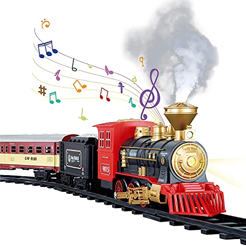TEMI Train Sets w/ Steam Locomotive Engine, Cargo Car and Tracks, Battery Operated Play Set Toy w/ Smoke, Light & Sounds, Perfect for Kids, Boys & Girls, Red