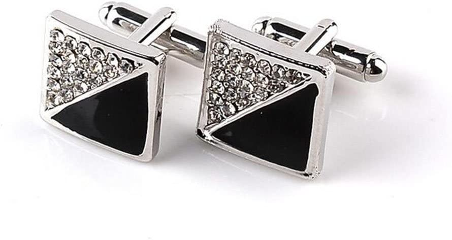 Yevison 1 Pair Men's Cufflinks Set Black Diamond Shirt Button Clip Studs Business Cuff Links Men Jewelry Gift Present Cost-effective