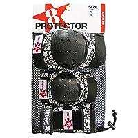 GOSK8 プロテクター 3点セット ブラック/ レッド S