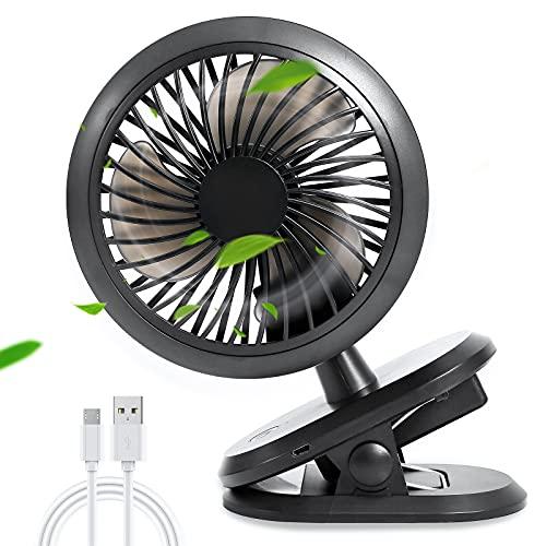 2021 Aggiornato-Ventilatore USB Ricaricabile,5000mAh;3Velocità;Rotazione 360°con Clip,Mini Ventilatori Portatili per Raffreddamento,Ventilatore Elettrico Silenzioso per Passeggino da Ufficio Personale
