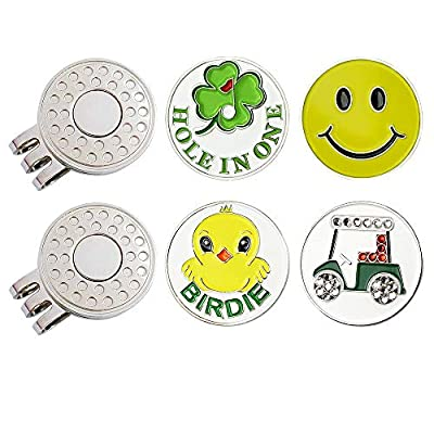 GOLTERS Golf Ball Markers with Magnetic Hat Clips Value Sets for Men Women Children Golfer, Durable Strong Removable Attaches Easily to Golf Cap Premium Gifts (Golf Club)