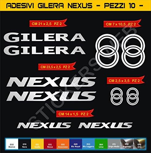 Adesivi Stickers GILERA Nexus Kit 10 Pezzi -Scegli Colore- Moto Motorbike cod.0558 (Argento cod. 090)