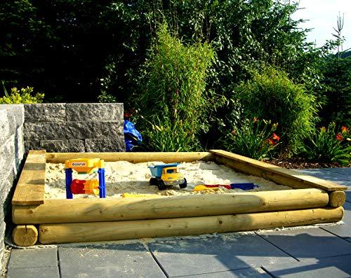 Spiel&Garten XXL Sandkasten nach Maß cm-Genau nach Wunsch Rundholz Ø12cm Holz in verschiedenen Größen (400cm x 200cm)