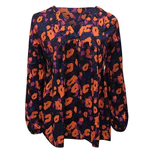 Shaohan Camiseta de manga larga para mujer con cuello en V, túnica, con volantes, blusa de manga larga, camisa de moda con estampado, estilo de vacaciones morado 42