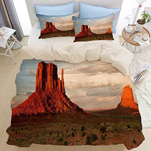 Juego de cama de 3 piezas, pilares de piedra arenisca roja masiva se elevan sobre el icónico valle del cañón, desierto occidental de Utah, juego de funda nórdica con cremallera de lujo moderno