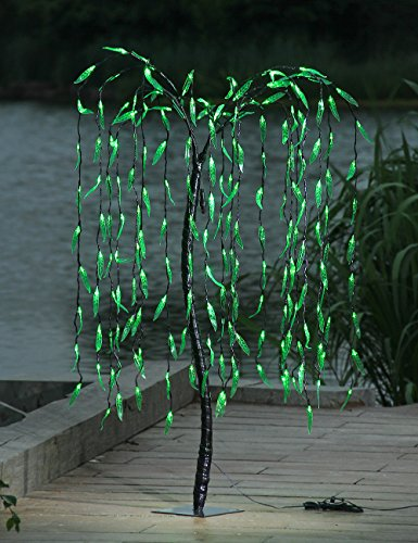 LIGHTSHARE 5.5 Feet 200 LED Willow Tree Light, Green Light for Summer Home Garden Decoration,Wedding,Birthday,Christmas,Holiday,Party Decoration