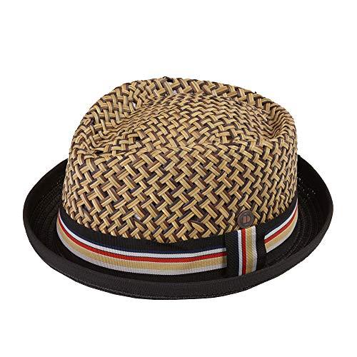DASMARCA Max Natural with Black Brim Straw Retro Porkpie Summer Hat - S