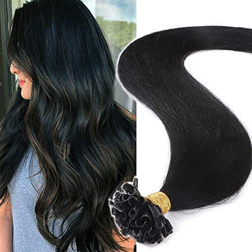 (40-60cm) U Tip Extension Cheratina Capelli Veri 1g * 50 Ciocche #1 Nero Scuro Lisci Punte Piene 40cm Remy Human Hair Extension Keratina