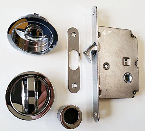 Hermat Schiebetürschloss WC 3659 Set mit Zirkelriegelschloss und Drehgriff verchromt