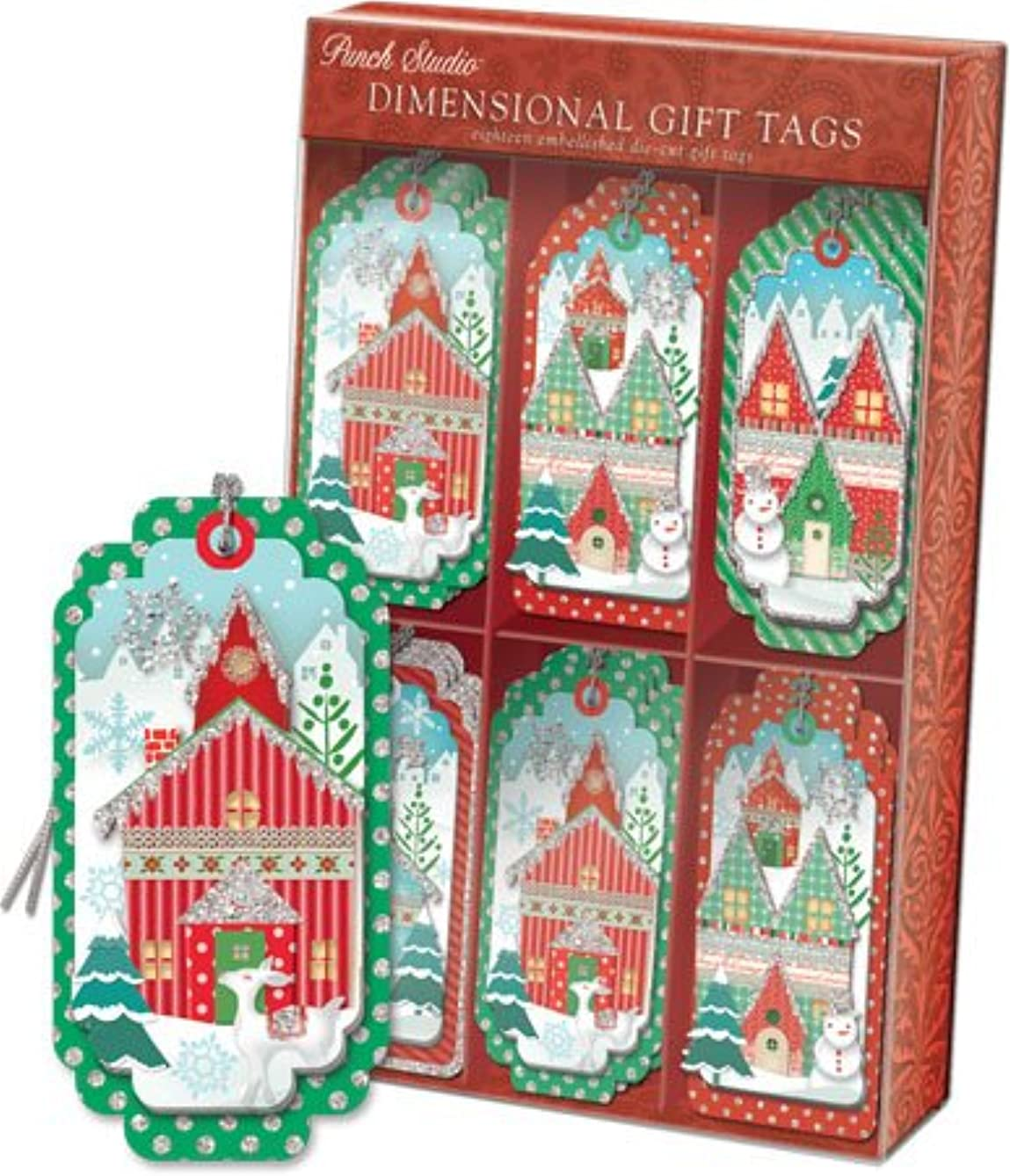 Punch Studio | Christmas Houses| Embellished Dimensional Die-Cut Gift Tags | 44704 |Boxed Set of 18