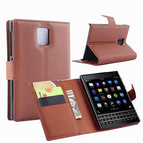Tasche für BlackBerry Passport (Q30) Hülle, Ycloud PU Ledertasche Flip Cover Wallet Case Handyhülle mit Stand Function Credit Card Slots Bookstyle Purse Design braun