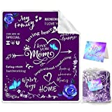 Bonsai Tree Mom Blanket, I Love You Mom Cozy Personalized Throw Blanket for Women from Daughter Son, Spiritual Inspirational Quotes Purple Flannel Fleece Blankets and Throws Birthday Gifts, 50'x60'