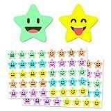 1000 Piezas, Feliz Pegatinas Recompensa Estrella - 2cm, 10 Diseños