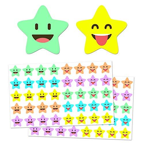 1000 Stück, Glücklicher Stern Aufkleber Belohnung - 2cm, 10 Designs