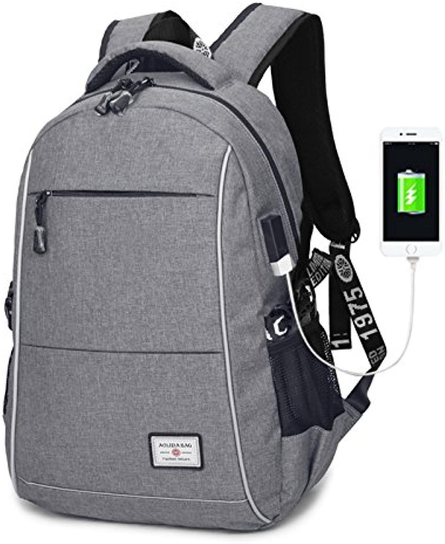 SQB Regendicht Reflektierende Streifen USB Lade Mund Flut mnnlichen Doppelschulterschüler Tasche 14 Zoll Computer Tasche