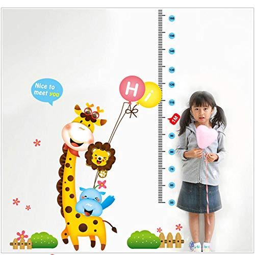 JIANXIQT Muurstickers Hoogte Meet, Creatieve Cartoon Dier Giraffe Ballon Hoogte Meting Wandstickers Baby Groei Kaart Kleuterschool Wanddecoratie Thuis Woonkamer Stickers