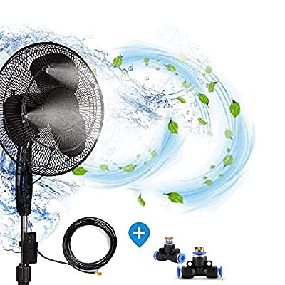 H&G lifestyles Outdoor Fan misting system for patios Water Mister Cooling Patio Connects Any Outdoor Fan 13 FT 6 Nozzles to Convert misting Fan ?Fan not Included)