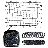 Grit Performance Cargo Net 3'x 4' for Pickup Trucks Heavy Duty Bed Netting Stretches from 3ft x 4ft to 6ft x 8ft | 4' x 4' Bungee Mesh Squares, Storage Bag & 12 Steel, Black Tangle- Carabiners