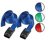 Master Lock 3110EURDATCOL Cinchas de Amarre con Hebilla Reforzada, Correa, Envase de 2, Azul/Amarillo/Rosa/Verde, 2.50 m x 25 mm