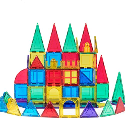 cossy 72 Pcs Magnetic Tiles, 3D Magnet Building Block Set with Rivets-Fastened for 3 Year Old and Up Kids, Learning and Bonding by Playing, Inspirational, Recreational, Educational, Conventional