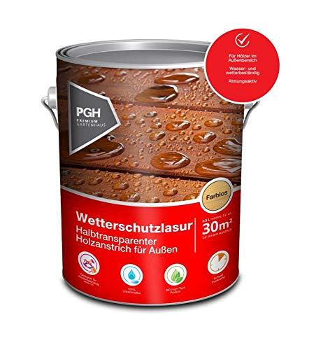 Alpholz Wetterschutzlasur Farblos | 2,5 l Holzlasur für ca. 15 m² | Universal-Lasur für Außenbereich | Lösemittelfreie, transparente Lasur | Andere Farbtöne verfügbar