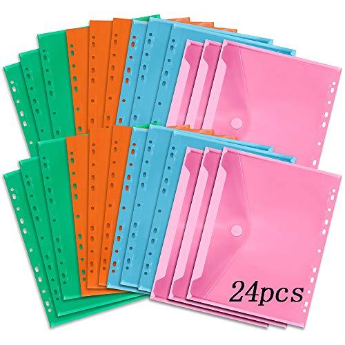 Dokumenten-Taschen DIN-A4 mit Klett-Verschluss,Dokumententasche A4 Abheftbar Farbig,Dokumententasche A4 Abheftbar,A4 Transparent Flexible,Dokumenten-Taschen A4(24pcs)