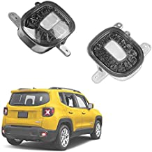 GTINTHEBOX Smoked Lens LED Rear Bumper Reflectors Fog Tail Lamps with White Backup Reverse Lights Update Kit for Jeep Renegade 2015 2016 2017 2018 2019