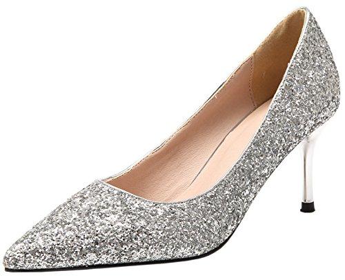 BIGTREE Damen Spitze Zehen High Heels Silber Kleid Pumps Glänzend Pailletten Stiletto Slip On 40 EU