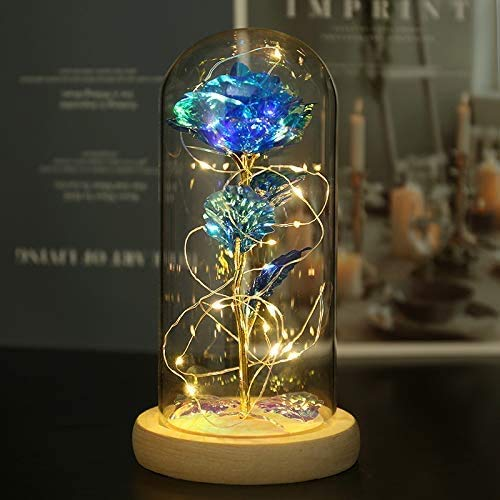 Naweida Rose galaxie La Belle et la Bête dans un dôme en verre avec lumières en forme de symboles de l'infini, rose enchantée en cristal pour femme